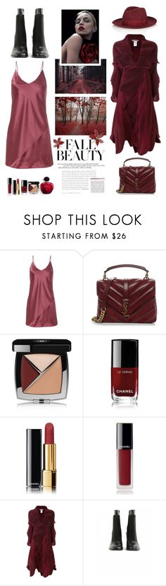 """""""Beautiful Burgundy"""" by shortyluv718 ❤ liked on Polyvore featuring Fleur du Mal, Anja, Yves Saint Laurent, Chanel, Issey Miyake and Maison Margiela"""