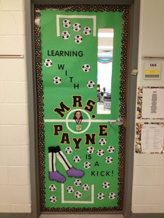 In honor of teacher appreciation I decorated my son's teacher's classroom door in what she loves - soccer!