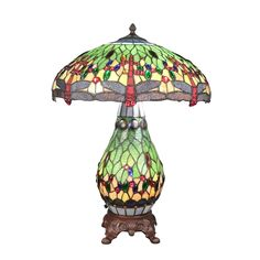 Tiffany lamp with lampshade and stained glass base decorated with dragonflies soldered with tin, express delivery. Louis Comfort Tiffany, Table Lamp Base, Lamp Bases, Applique Art Deco, Stained Glass Table Lamps, Style Floral, Sunset Colors, Glass Shades, Art Nouveau