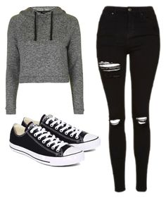 """Untitled #481"" by cuteskyiscute ❤ liked on Polyvore featuring Topshop and Converse"