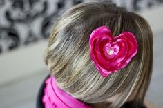 Melted, or singed, satin hearts tutorial.  Bow Dazzling Volunteers, add an alligator clip with a felt circle for a pretty hair or headband accessory.