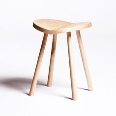 Ulrik Stool By Alex Hellum: Unassuming Wooden Stool Beautifully Executed In  Ash With A Whimsical Personality. From This Angle It Looks Like A Heart!
