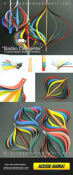 Aprenda como fazer um Balão diferente para sua Festa Junina - Artesanato Brasil mostra passo a passo, com belas imagens! - Visite agora!