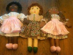 Three hand made dolls.