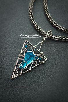 """Купить """"Frozen Magic"""" Серебряный кулон - украшение, подвеска, кулон, голубой, цепочка, серебро, wire"""