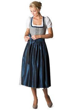 Hammerschmid Damen Langes Dirndl Malersee grau/blau D010191 38