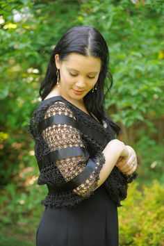 Tatted Webs: Tatted Mobis Shawl - Shawl is tatted in a circle, giving many options to wear it. In white or black. Other colors available depending on the ribbon. 250.00 usd #tatting #apparel