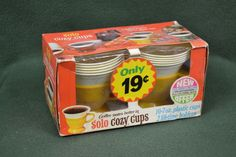 Vintage Solo Cozy Coffee Cups 70's Yellow 2 CUPS Unopened USA Made