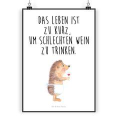 Poster DIN A3 Igel mit Wein aus Papier 160 Gramm  weiß - <b>Das Original von Mr. & Mrs. Panda.</b>  Jedes wunderschöne Poster aus dem Hause Mr. & Mrs. Panda ist mit Liebe handgezeichnet und...