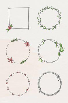 Bullet Journal Art, Bullet Journal Ideas Pages, Bullet Journal Inspiration, Free Doodles, Doodle Frames, Floral Doodle, Drawing Frames, Wreath Drawing, Botanical Decor