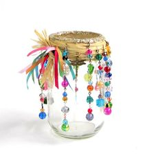 Beaded Mason Jar Candle Holder Luminary Bohemian Hippie Patio