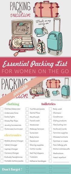 Make travel less stressful: essential printable packing list for women - . Make travel less stressful: essential printable packing list for women - Travel Packing Checklist, Printable Packing List, Travelling Tips, Packing Hacks, Packing Tips For Vacation, Packing Ideas, Travel Packing Bags, Packing For Holiday, Honeymoon Checklist