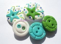 Bluegreen stars  polymer clay buttons by ayarina on Etsy, $7.25