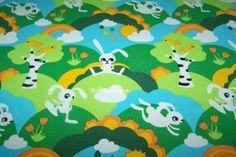 Baumwolljersey Little white Rabbit Hasen Blumen von Stoff-Zaubereien auf DaWanda.com
