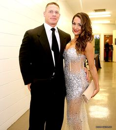 Nikki Bella and John Cena Backstage at the 2014 WWE Hall of Fame Induction Ceremony