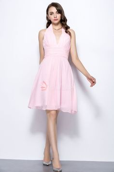 Halter V Neck Pink Chiffon Knee Length A-line Casual Bridesmaid Dress