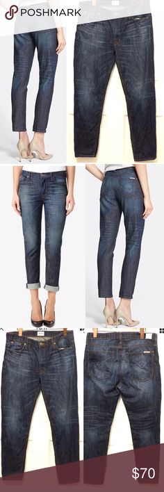 """Hudson Jude Slouch Skinny Crop Jean Rebellion Wash New without tags, Hudson Jude slouch skinny crop jean in Rebellion wash size 27.  Size/Measurements:  * Marked Size: 27 * Actual waist measures: 32 * Front Rise: 9 ½"""" * Full Hip: 40 ½"""" * Inseam: 26 ½"""" * Outseam: 37 ½"""" * Leg Opening: 12 ½"""" * Back Rise: 14""""  Details: * Authentic Hudson jean * Fly zip closure with Hudson button * Five-pocket style * Unique whiskering and fading * Ankle grazing * Two back patch pockets * 100% Cotton * Made in…"""