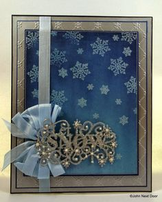 John Next Door  Phil Martin Snowflake stamps Distress Ink in Chipped Saphire, Milled Lavender & Broken China Cosmic Shimmer Detail Clear embossing Powder Sue Wilson's Let it Snow Die Iced Snow  A4 Snowflake Lattice embossing folder