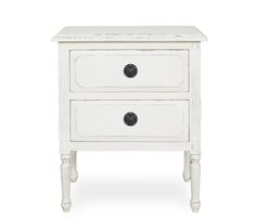 Alana Accent Chest - White - Stocked in a hand distressed white painted finish with solid antique brass hardware, the Alana is inspired by Louis XV style. Features two storage drawers