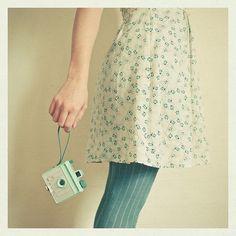 floral dress and knit aqua tights