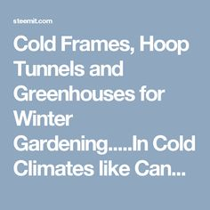 Cold Frames, Hoop Tunnels and Greenhouses for Winter Gardening.....In Cold Climates like Canada and Northern US — Steemit