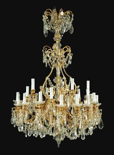 A GILTMETAL AND CUT-CRYSTAL CHANDELIER, SECOND HALF OF 19TH CENTURY, SIGNED BACCARAT