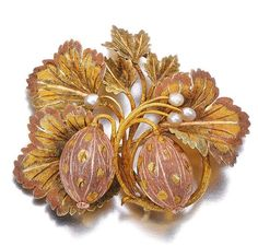 Gold and seed pearl gooseberry brooch, circa 1840