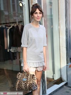 Alexa Chung with her Mulberry Leopard