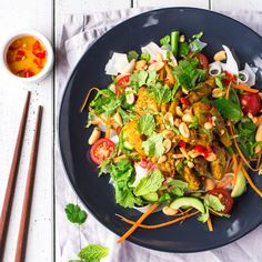 I picked up this Lemongrass Chicken Noodle Salad recipe in Vietnam and have put my own spin on it, adding rice stick noodles and lots of fresh vegetables. Chicken Noodle Salad Recipe, Ways To Cook Chicken, Chicken Meals, Chicken Recipes, Chicken And Vegetables, Fresh Vegetables, Marinated Chicken, Asian Cooking, Lemon Grass