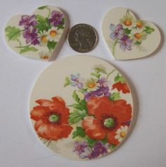 Shabby Mosaic Tile Set 3 Focals Poppies Violets Hearts Round Vintage China   eBay