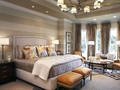 Tune in and browse super inspiring showcase of bedroom design ideas with striped walls. Striped walls can work as powerful visual effect in the bedroom. Beautiful Bedrooms, Striped Bedroom, Interior Design, House Interior, Home, Interior, Master Bedroom Design, Traditional Bedroom, Home Bedroom