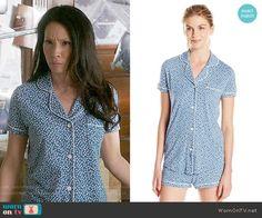 Joan's blue polka dot pajamas on Elementary.  Outfit Details: https://wornontv.net/56117/ #Elementary