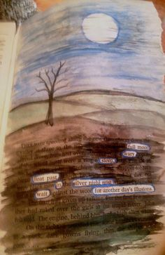 Watercolor and gel pen found poetry altered book page.