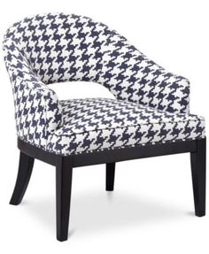 Natasha Houndstooth Fabric Accent Chair, Direct Ships for just $9.95 | macys.com