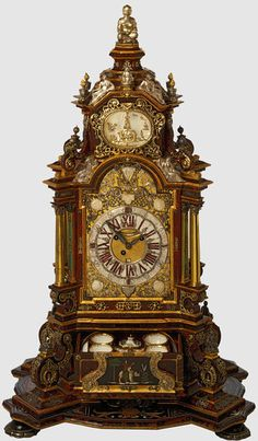 Augsburg Clock (Cabinet clock) Made Of Wood, Boulle Marquetry And Tortoiseshell, Silver And Gilded Silver (Silver-Gilt), Inlaid Mother-Of-Pearl, Ivory, Enamel And Brass, Pietre Dure, Cut Garnets, Turquoise, Micro Mosaic, Velvet, Porcelain, Mirror Glass, Gilt Bronze, Oil On Copper, By The Meissen Porcelain Factory - Augsburg, Germany And Meissen, Germany 1700-1725