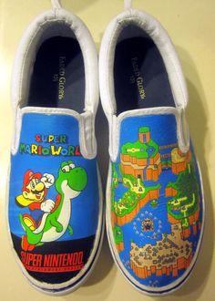 Custom Super Mario World SNES Canvas Shoes by SuperBitKicks, $50.00
