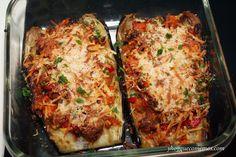 Berenjenas Rellenas de Atún al horno. Otra manera de hacer las berenjenas rellenas de forma fácil y rápida. Plato light, rico y saludable.