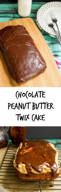 Chocolate Peanut Butter Twix Cake   girlinthelittleredkitchen.com