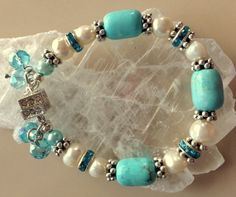 Freshwater Pearls and Turquoise with Silver and by MAGICALUNIVERSE, $45.00