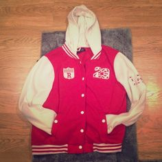 Red & White Bomber Jacket 🎉 HP - Best in Outerwear Party 09/29/16 🎉 Used | Reposh | Still Some Life Left | Ok Condition | Piling On The Sleeves | Small Stains & Fading Throughout Jacket | Top & 2nd Button Missing | Red & White Colors | Different Patches On Jacket | Two Pockets In The Front | Hooded | Could Fit A Large |🚫 Trades | More 📷 Upon Request | Feel Free To Ask Questions 🙋| Bundles Are Welcomed❤️| New Look Jackets & Coats