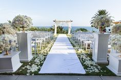 Gorgeous ceremony site over looking the ocean   Planning and Coordination by Tessa Lyn Events (@tessalynevents) #tessalynevents.  Flowers by Bended Knee Floral Photo by Andrena Photography #weddings #weddingplanner #losangeleswedding #california wedding
