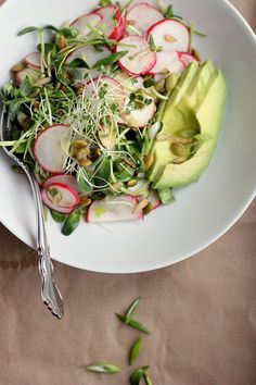 Avocado, Radish + Sprout Salad with Tangy Miso Dressing ⎮ happy hearted kitchen