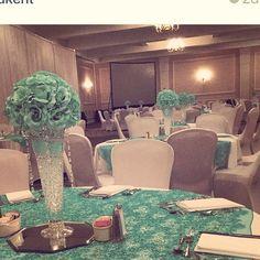 Centerpiece #tiffanygreen #mint #centerpiece