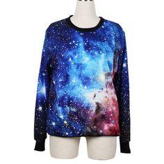 Hot Sale O Neck Long Sleeve Galaxy Style Sweats (£18) ❤ liked on Polyvore featuring tops, hoodies, sweatshirts, shirts, multi color, blue sweatshirt, pullover shirt, colorful shirts, nebula shirt and galaxy print shirt