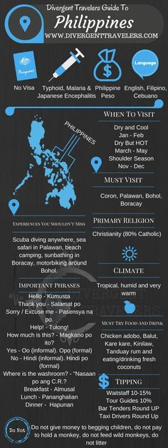Divergent Travelers Travel Guide, With Tips And Hints To The Philippines . This is your ultimate travel cheat sheet to the Philippines. Click to see our full Philippines Travel Guide from the Divergent Travelers Adventure Travel Blog and also read about all of the different adventures you can have in the Philippines at http://www.divergenttravelers.com/destinations/philippines/