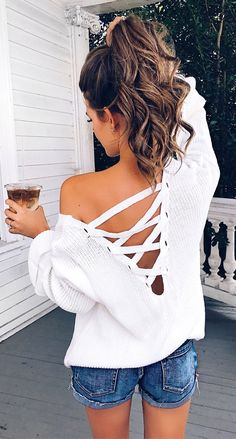 #Summer #Outfits Open Back Top