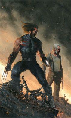 Marvel's X Men character Wolverine & Old Man Logan - Gabriele Dell'Otto Marvel Wolverine, Wolverine Old Man Logan, Hq Marvel, Marvel Comics Art, Marvel Heroes, Anime Comics, Captain Marvel, Comic Book Characters, Marvel Characters