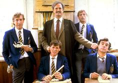 Eric Idle, John Cleese, Graham Chapman, Michael Palin and Terry Jones in a scene from the 1983 Monty Python film The Meaning of Life. Monty Python, Eric Idle, Terry Jones, Michael Palin, Terry Gilliam, Life Cast, Classic Comedies, Human Dignity, British Comedy