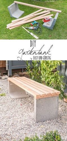 Instructions for a simple homemade DIY garden bench made of concrete and wood . - Instructions for a simple homemade DIY garden bench made of concrete and wood …, - Diy Garden Furniture, Diy Garden Projects, Outdoor Projects, Wood Projects, Furniture Ideas, Pergola Diy, Garden Images, Garden In The Woods, Easy Garden