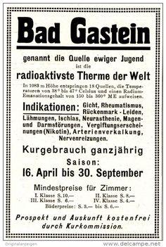 Original-Werbung/ Anzeige 1927 - BAD GASTEIN - ca. 65 X 100 mm